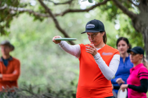 Team Innova member Lisa Fajkus lining up a throw.
