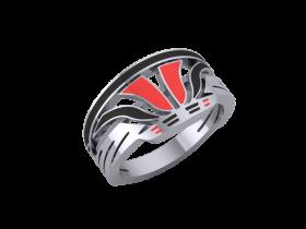 Sterling Silver Flying Basket Ring (Red & Black Fill)
