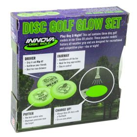 Disc golf set. Innova DX Glow Disc Golf Set.