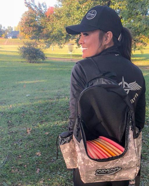 Christine Jennings carrying Innova Discover Backpack
