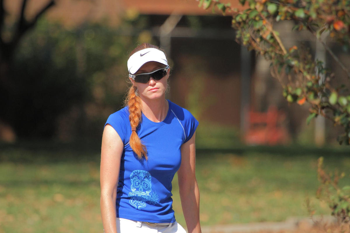Holly Finley frustrated on disc golf course