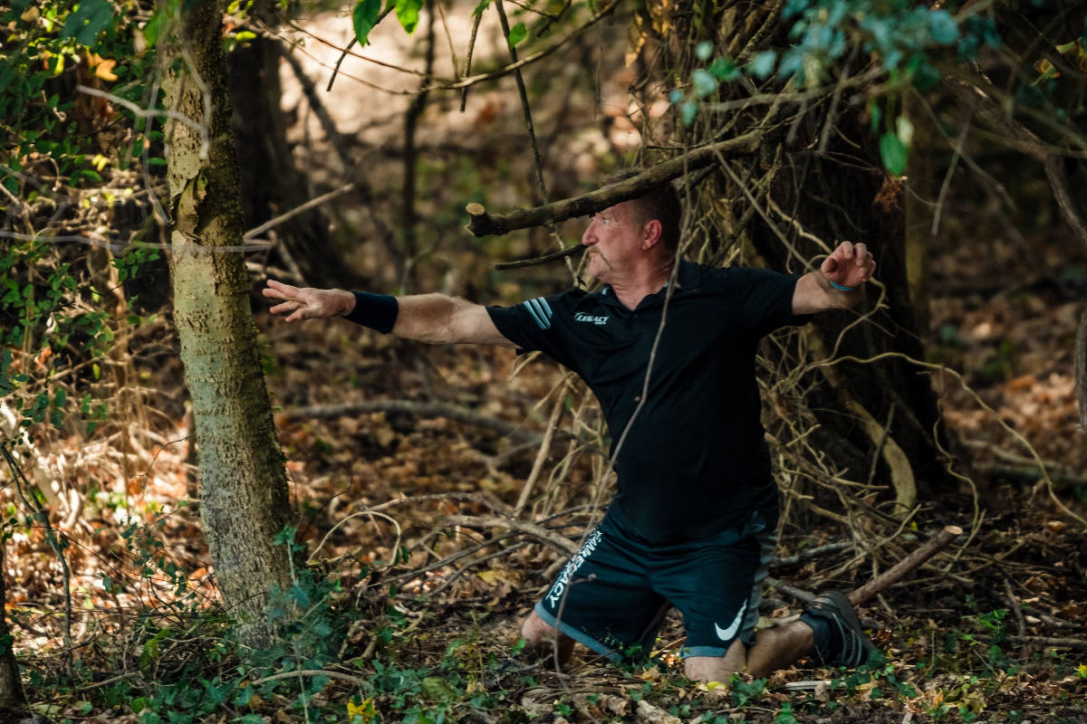 Disc golfer stuck in the woods